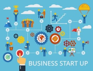 36756437 - business start up. vector scheme with humans, icons and gears.