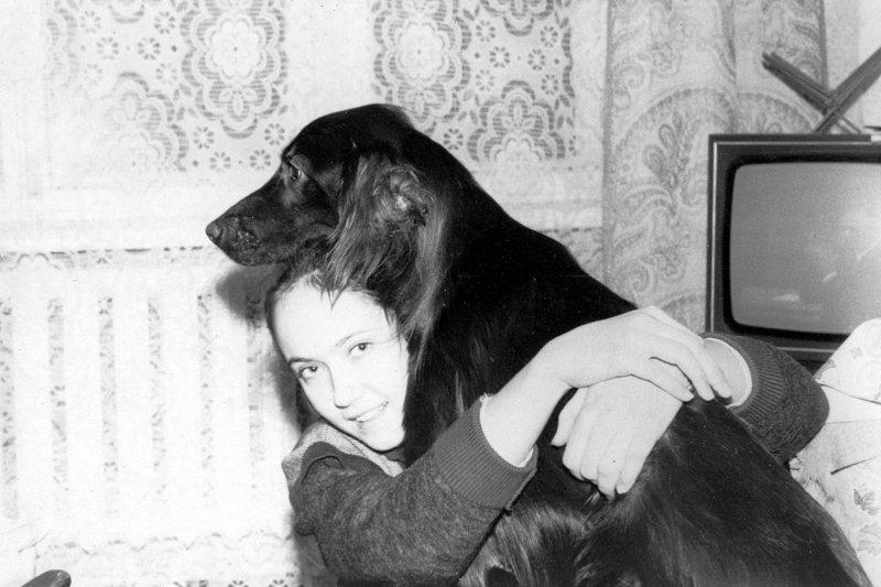 1990.02. Катя с Апашем.