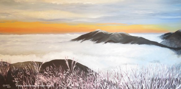 Three Ridges in Cloud 48x24 Oil on Canvas