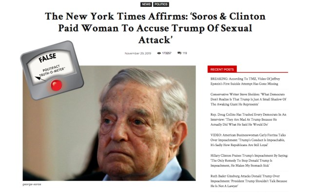This image has an empty alt attribute; its file name is soros-clintonhoax.jpg