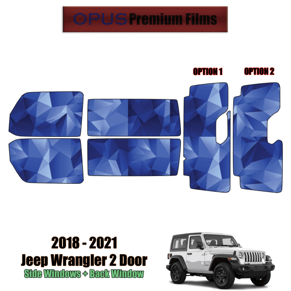 2018 – 2021 Jeep Wrangler 2 Door – Full Vehicle Precut Window Tint Kit Automotive Window Film