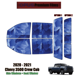 2020 – 2021 Chevrolet Silverado 3500 Crew Cab – Full Truck Precut Window Tint Kit Automotive Window Film