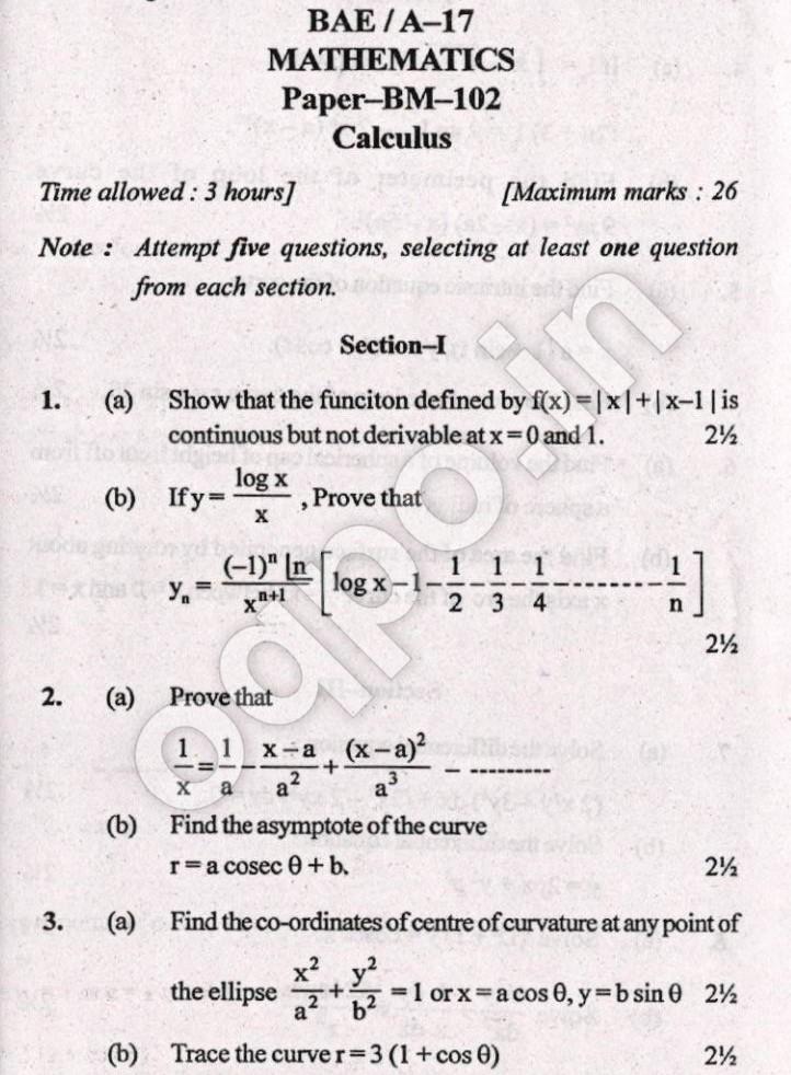 KUK BA 1st Year Mathematics(Calculus) Question Paper 2017