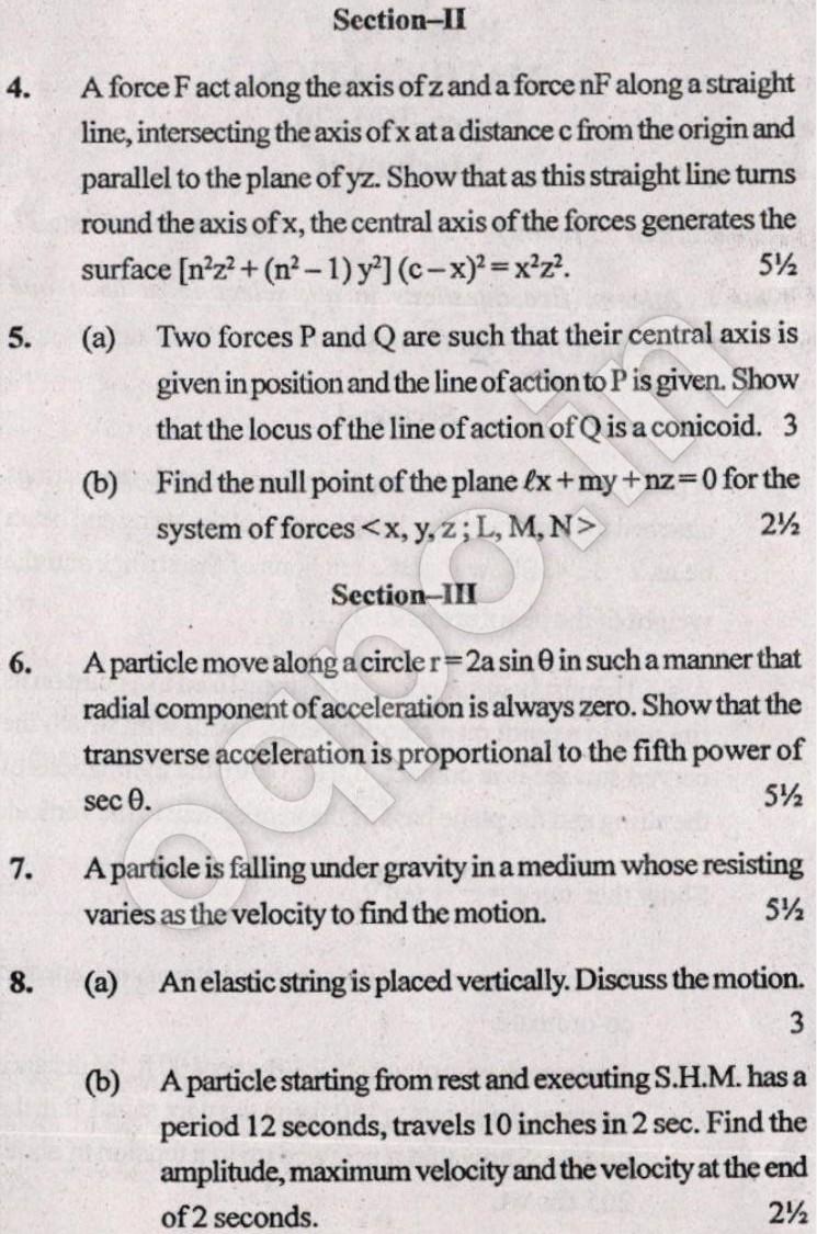 KUK BA 2nd Year Maths (Mechanics) Question Paper 2017