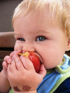 criança comendo fruta