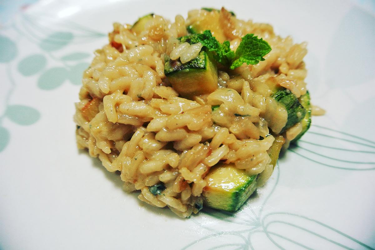 risoto de abobrinha com gorgonzola