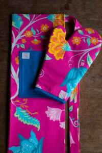 Kit Avental + Luva de Forno Rosa Florido