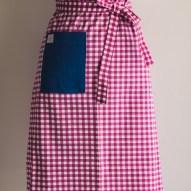 Avental de Cintura Xadrez Rosa Bolso Jeans