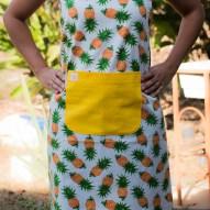 Avental de Cozinha Abacaxi Bolso Amarelo