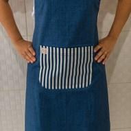 Avental de Cozinha Azul Jeans Bolso Listrado