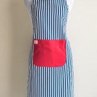 Avental de Cozinha Listrado Bolso Vermelho