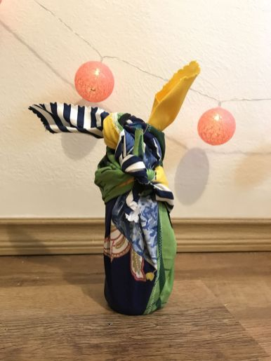 Embrulho Garrafa Pequena - Furoshiki