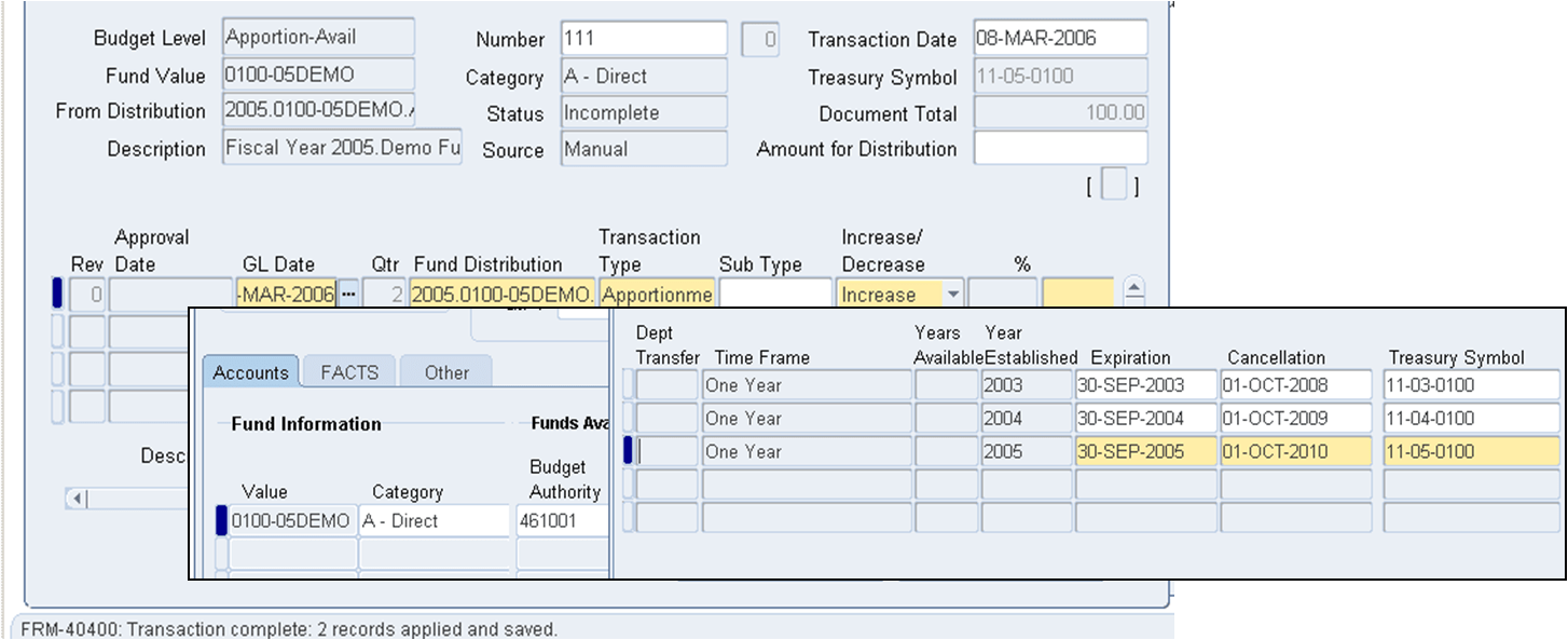 Example of a entering a FV Budget Transaction for an Expired Treasury Symbol