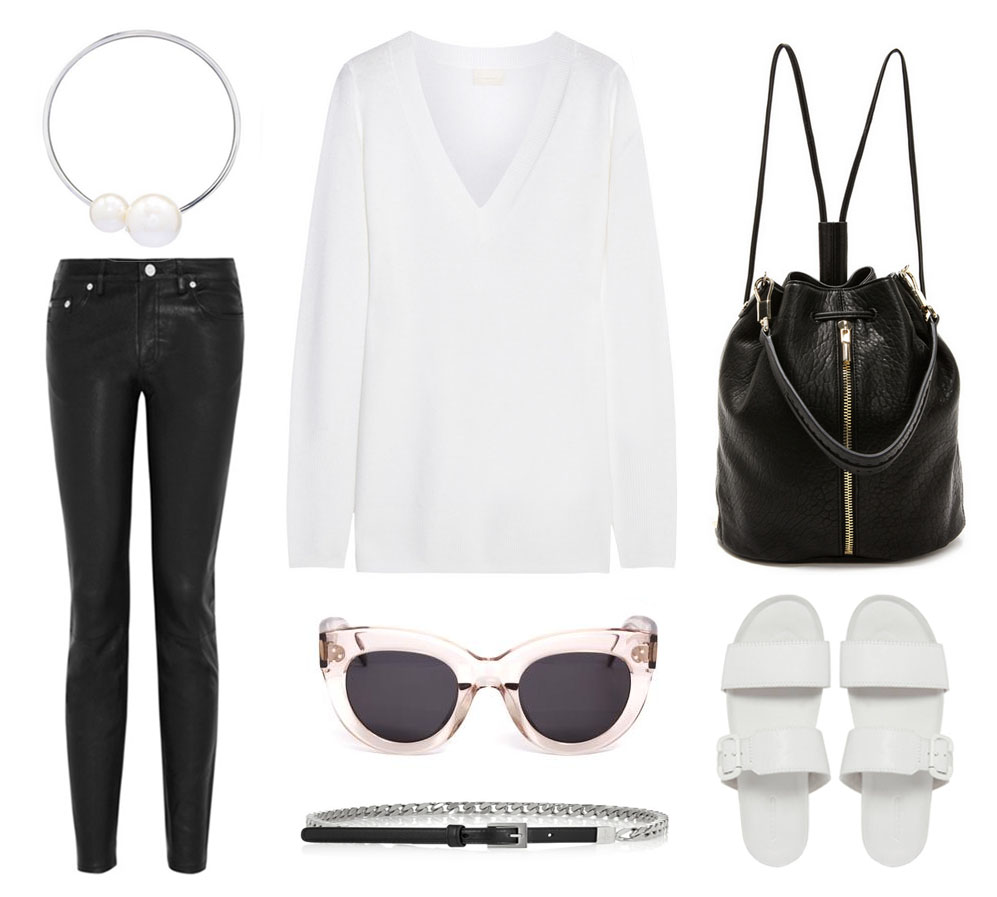outfit collage oracle fox backpack elizabeth james leather acne celine sunglasses slides asos black white