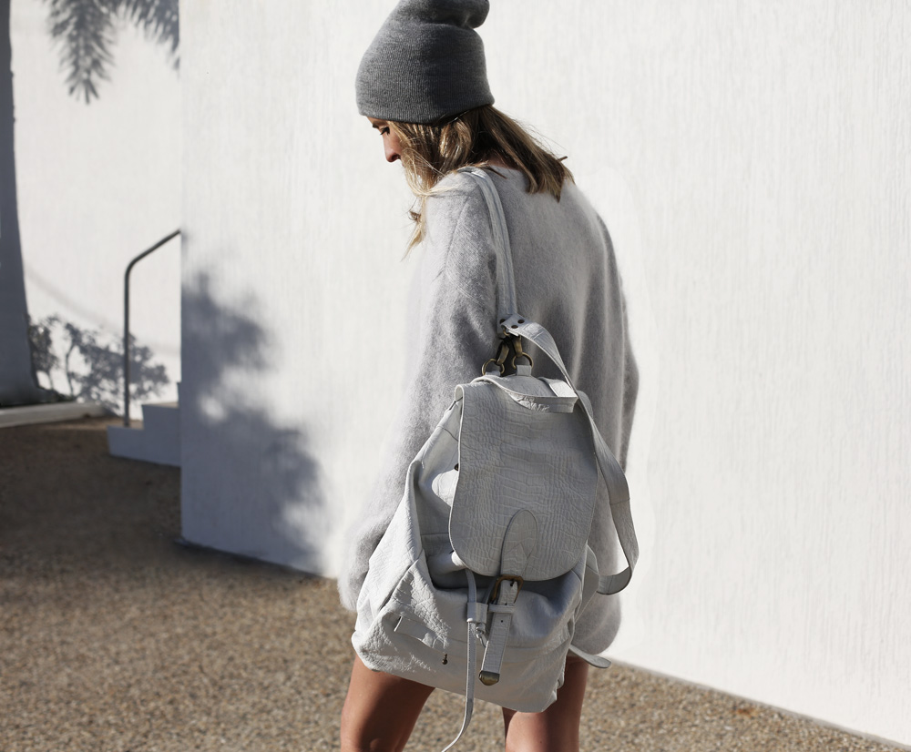 grey topshop knit white croc embossed back pack backpack beanie oracle fox