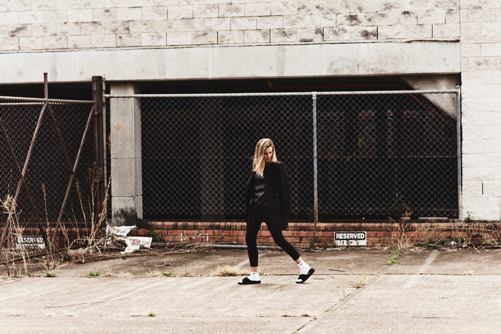 Fashion Style Outfit Black McQ Nike Topshop Celine Slides Jacket Trousers Socks