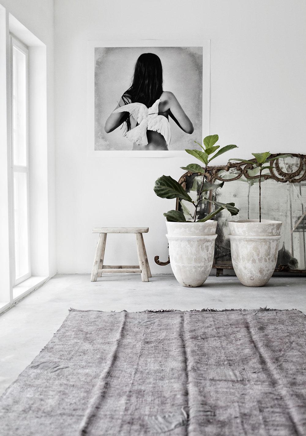 Marie Olsson Nylander Home House Inspiration white interior bedroom bathroom dining room natural white timber concrete light outdoor
