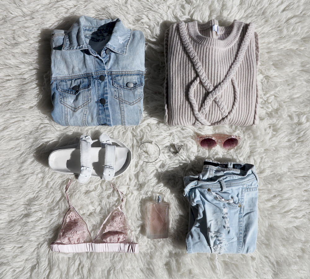 Outfit, flatlay, collage, denim, ripped, distressed, jeans, blush, knit, sunglasses, pink, bra, lace, perfume, white, slides, oracle, fox