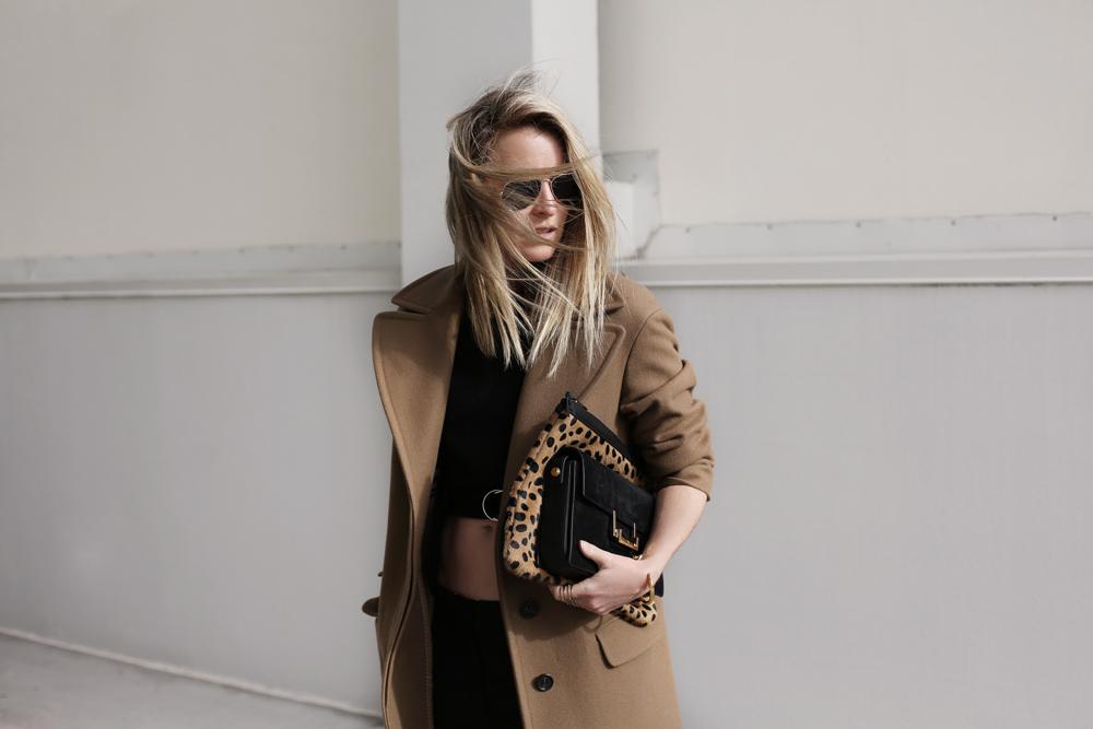 camel, coat, topshop, black, crop, top, acne, trousers, heels, mode, collective, oracle fox, outfit, sunglasses, saint laurent, bag, leopard