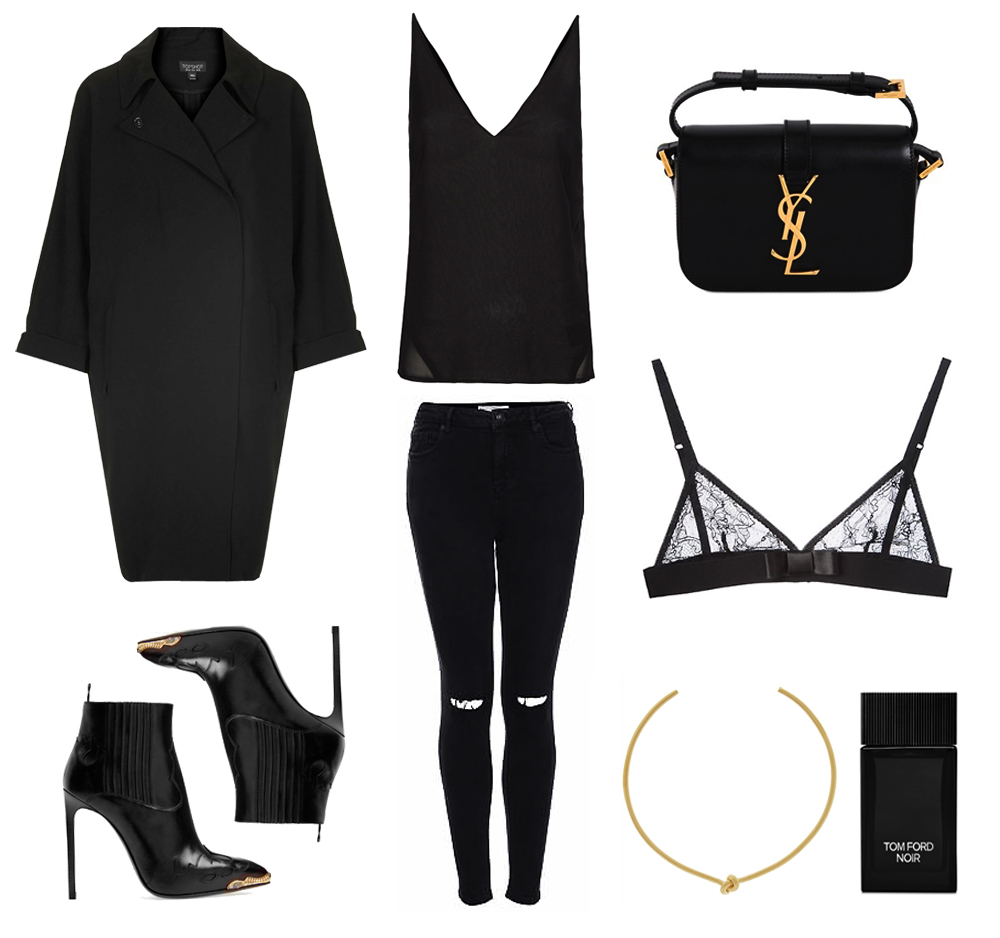 black, outfit, collage, oracle, fox, jeans, givenchy, lace, bra, coat, jewellery, gold, YSL, bag, boots