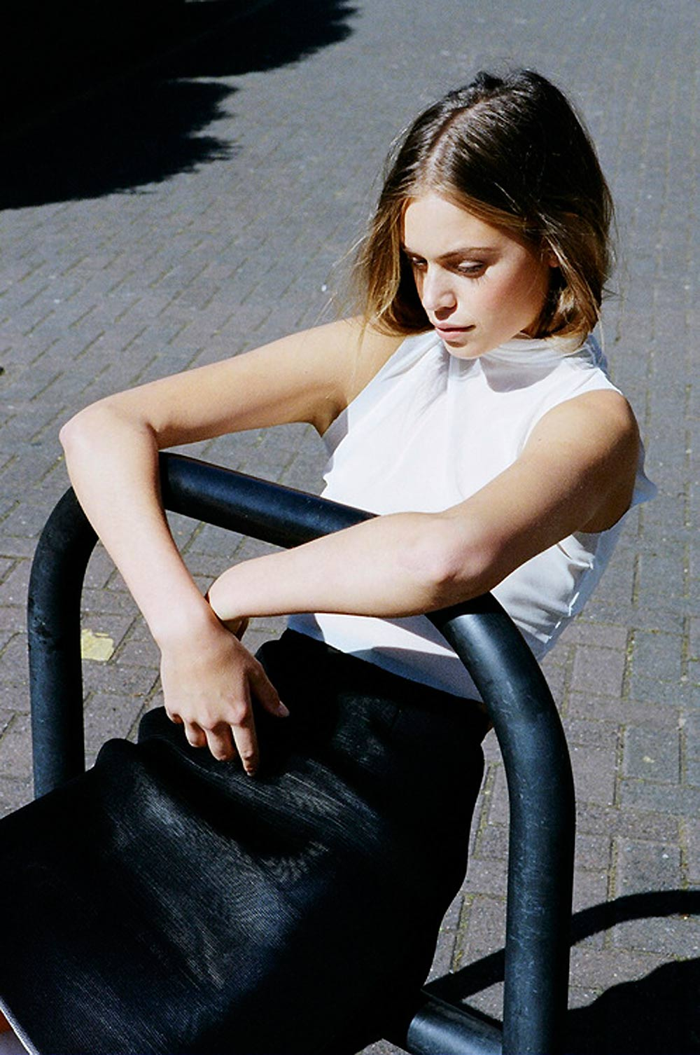 Slinky, Outfit, white, black, monochrome, monochromatic, celine, coat, pants, shirt, bag, oracle, fox, tumblr