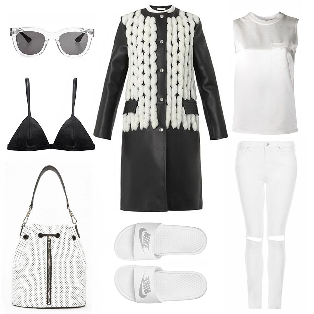 Balenciaga, black, wihte, coat, white, outfit, topshop, alexander, wang, fashion, jeans, bag, sunglasses, bralette, oracle, fox, outfit, collage