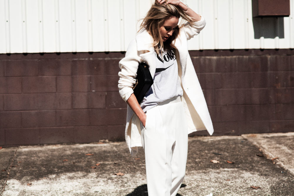 All, White, Outfit, Ellery, trousers, jacket, coat, coke, tee, celine, slides, oracle, fox , outfit