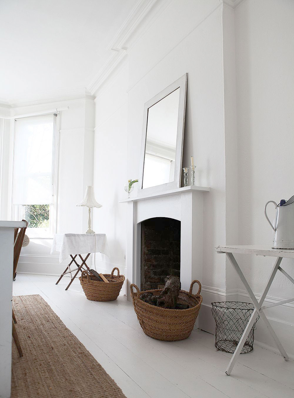 White, Home, Interior, Industrial, Minimal Inspiration, White Floorboards, Fireplace,  Oracle Fox
