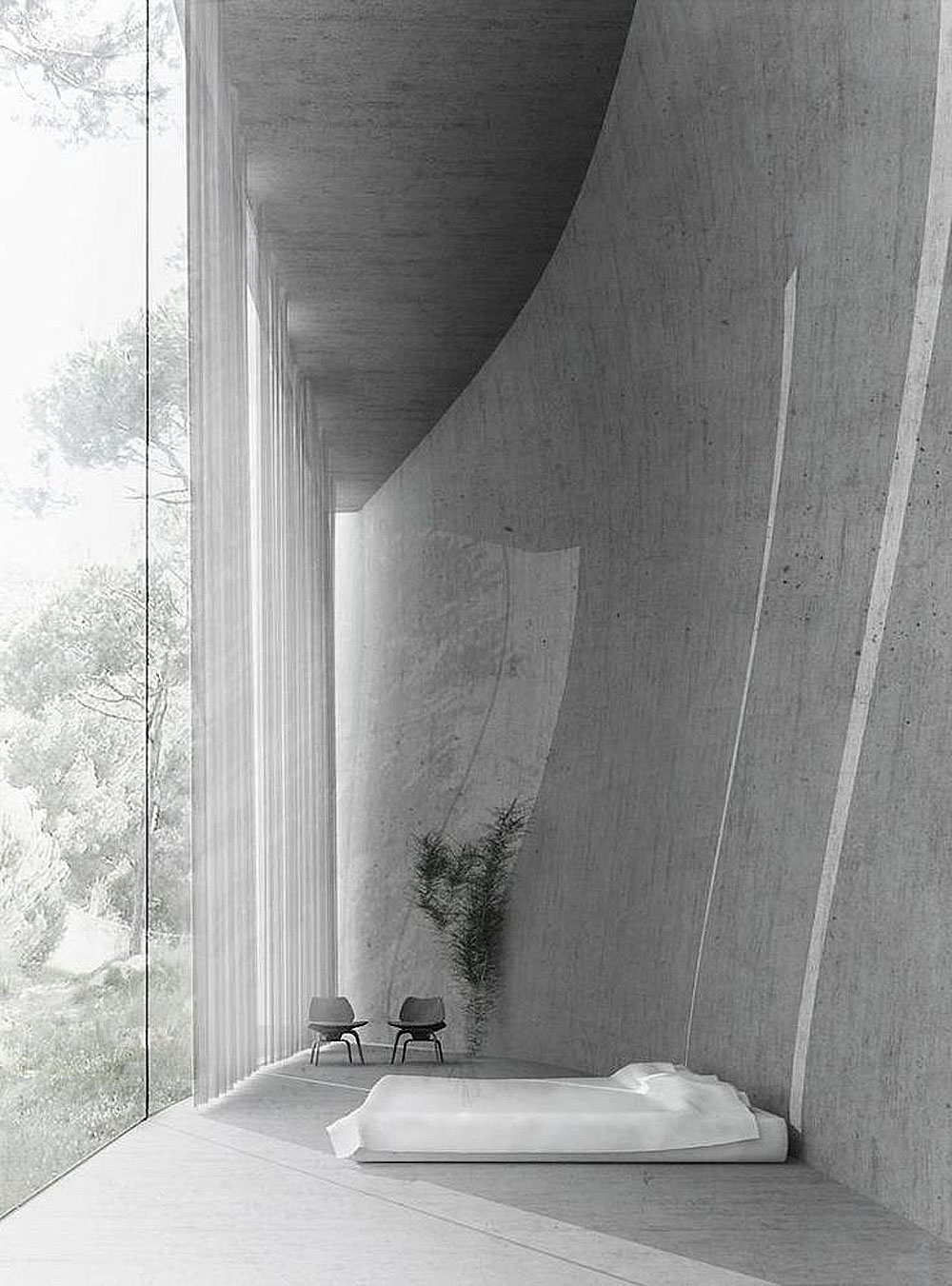 concrete, jungle, sunday, sanctuary, concrete interiors, cement, house, oracle, fox