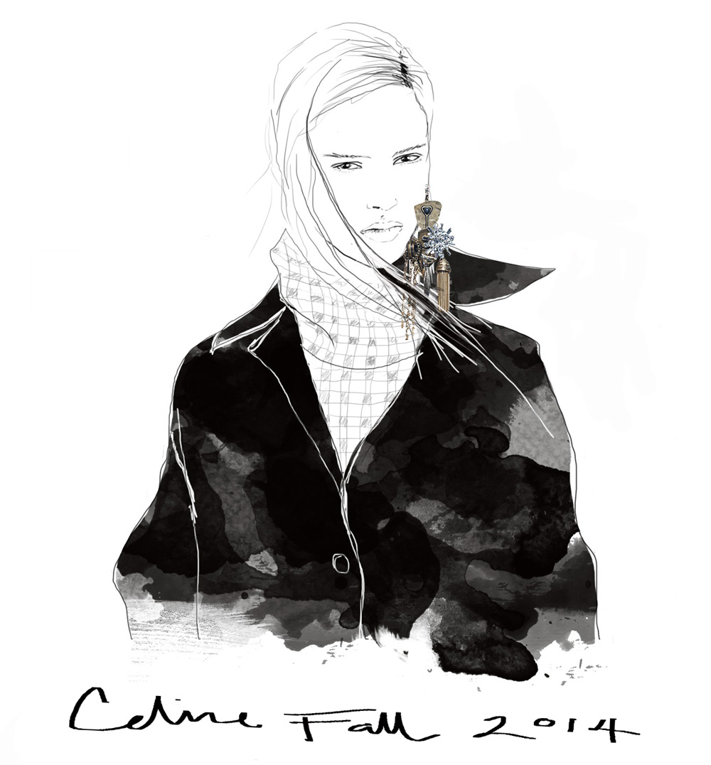 Celine, Single, Earring, Fall, 2014, Illustration, Drawing, Oracle, Fox