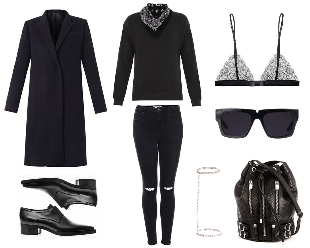 outfit, collage, all black, saint laurent bucket, bag, stella mcCartney shoes, sunglasses, black lace bra, r21 top, saint laurent coat, silver ring , oracle fox,
