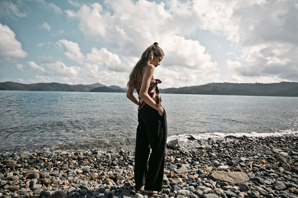 Suzy, Woo, Wootin, model, asha, models, priscillas, fashion, photographer, editorial, minimale, animale, acne, trousers, louis, vuitton, earring, carven, coat, boots, pebble, beach, hamilton , island,