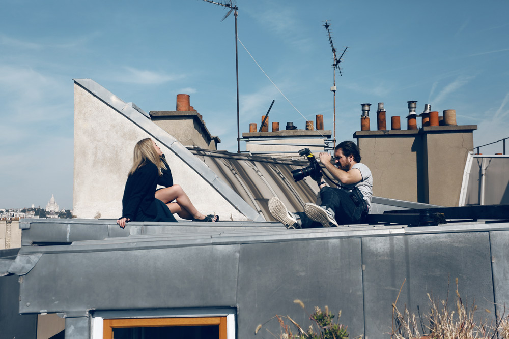 matches fashion, behind the scenes, editorial, paris, rooftops, phil Taylor, knitwear, sweater, oracle fox,