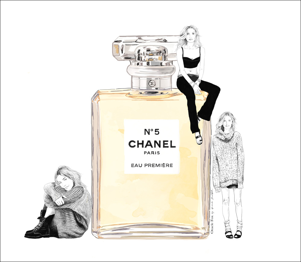 Chanel, Number 5 Perfume, No.5, perfume, chanel perfume, illustration, oracle fox, gisele bunchen illustration, gisele