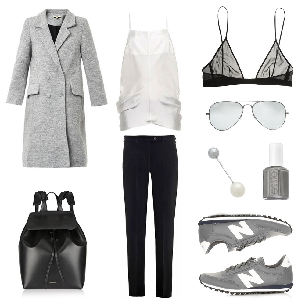 Outfit, Collage, Grey Coat, Rika , New Balance 410, black backpack, amber sceats earring, saint laurent bra, grey essie nail polish , oracle fox