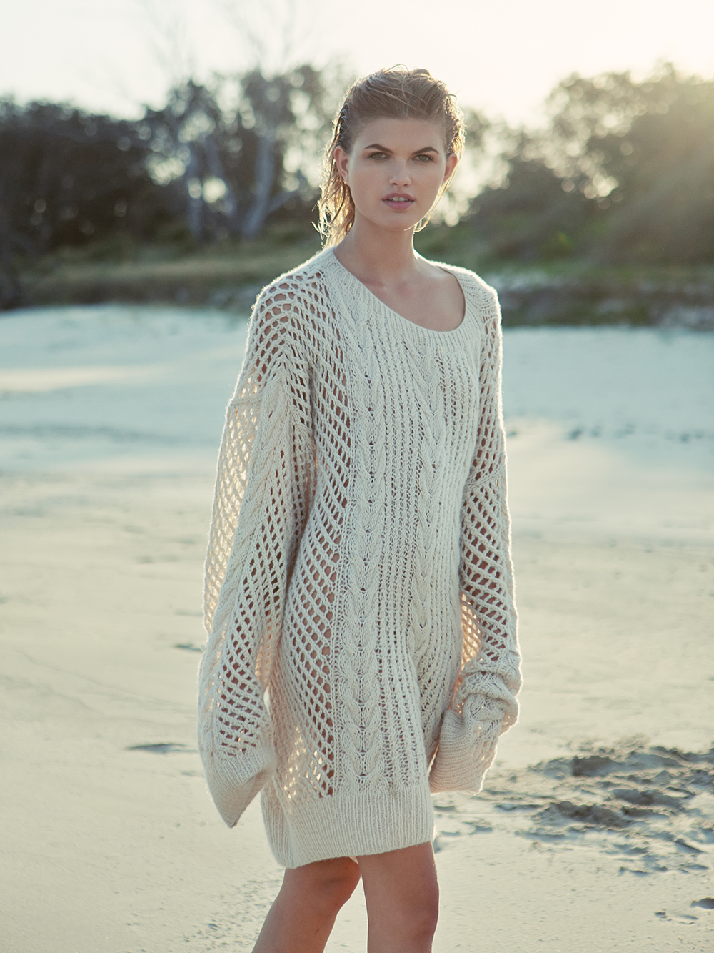 Sybil Steel, Photographer, Louise Mikkelson, Model, Oversized Knit, Crochet, Sweater, Jumper, Beach Editorial, Oracle Fox Journal, Oracle Fox