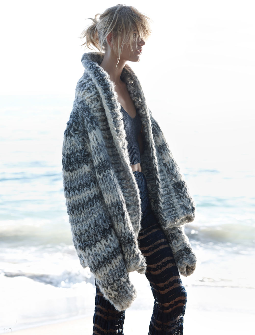 louise, mikkelsen, by, stephen, ward, elle, australia, february, 2015, Oracle, Fox, winter, beach, chunky, knit, editorial,