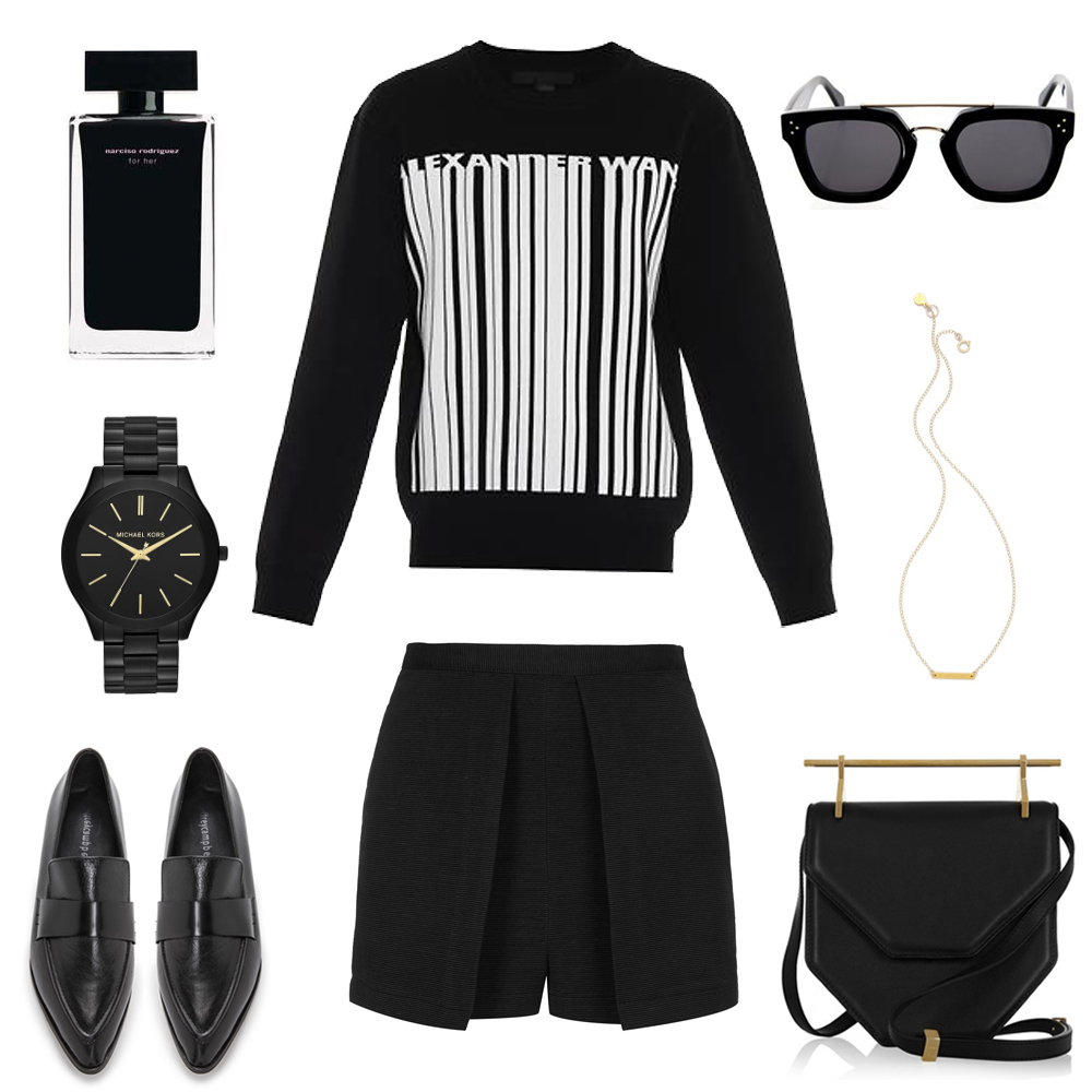 flatlay, black outfit, alexander wang, collage, topshop shorts, m2malletier bag, michael kors watch, jeffrey campbell shoes, celine sunglasses, gold necklace
