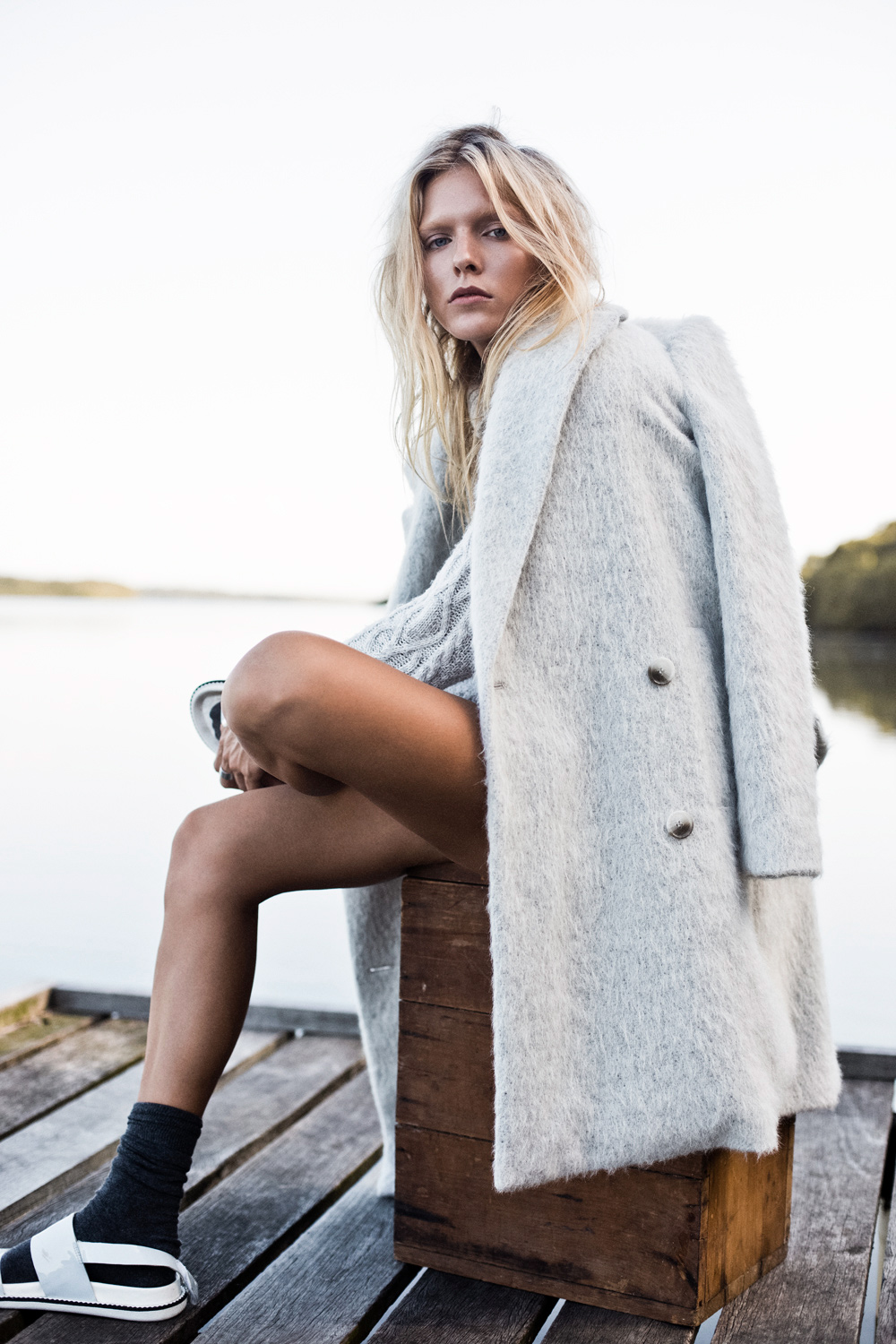 oracle fox journal, samantha cannon, nat lanyon, sir the label, grey trousers, max mara, tibi coat, styling, photography, winter, washed out, senso, cameo, topshop knit