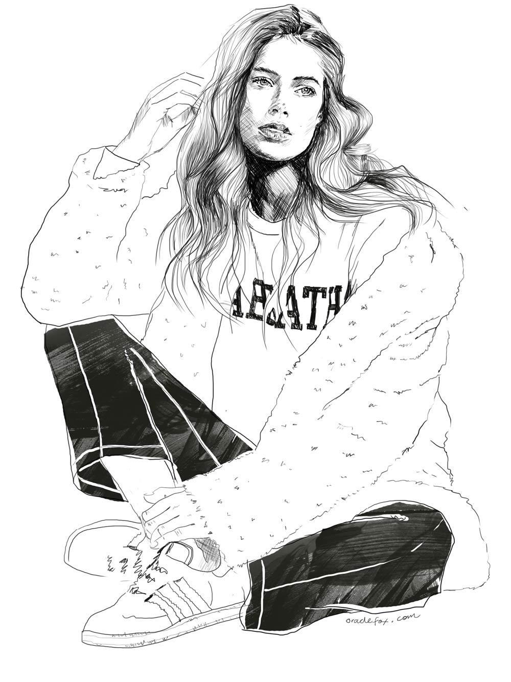 Doutzen Kroes, Ben Weller, Illustration, twin magazine, 2015, drawing , amanda shadforth
