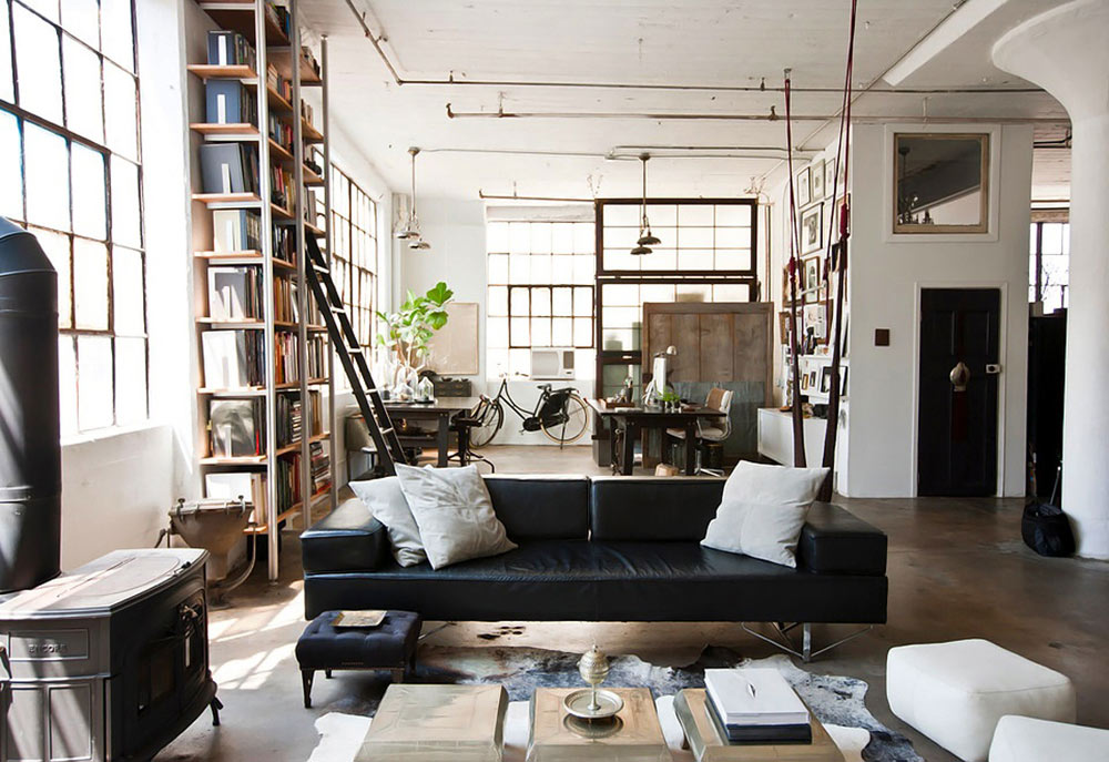 Oracle, Fox, Sunday, Sanctuary, Brooklyn, Loft, Apartment, Bright, Lounge, Room, Fireplace, Black, Couch