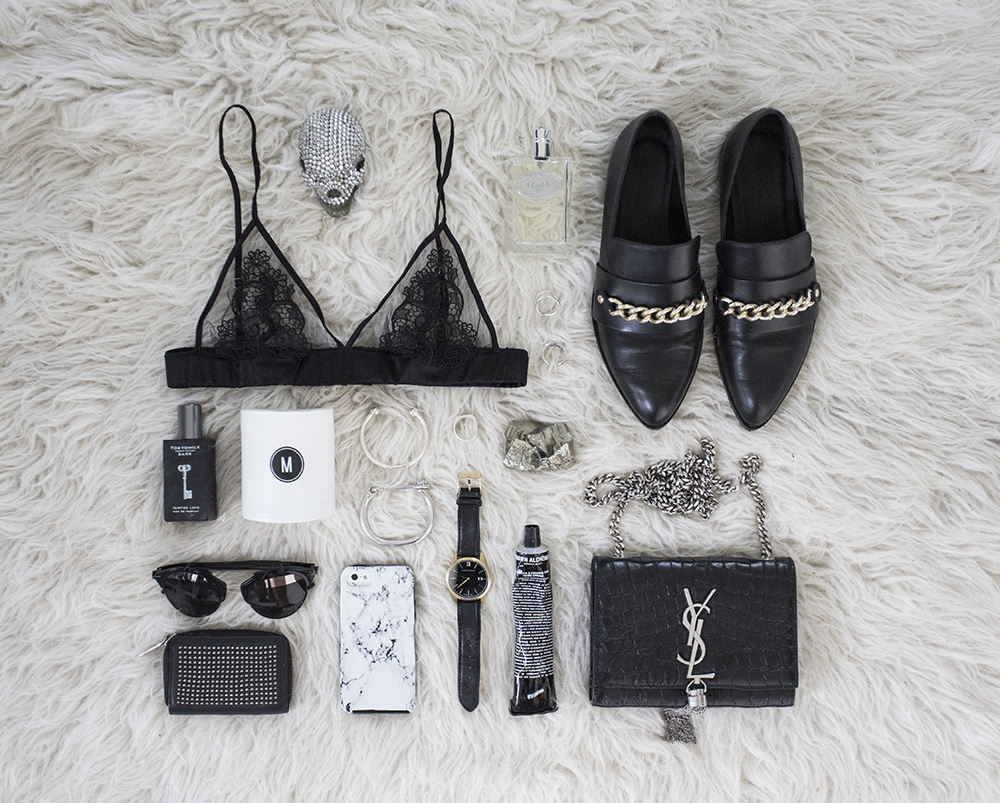 Flatlay, Oracle Fox, Flat lay, black lace bra, braille, oxford, shoes, jewellery, accessories, saint laurent bag, clutch, marble phone case, dior sunglasses,