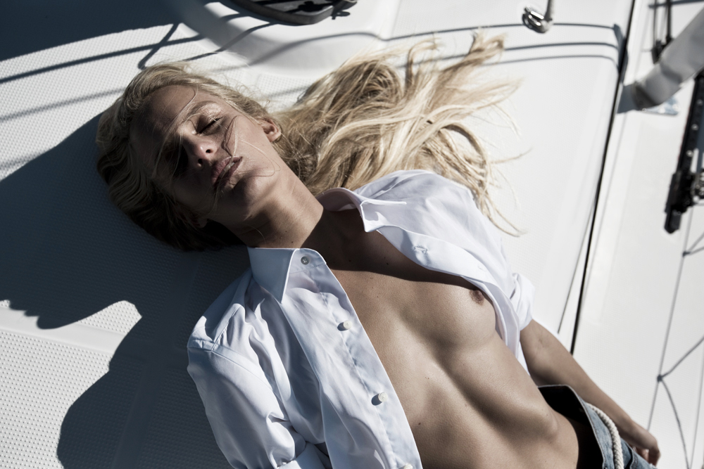 Hanalei Reponty, blonde model, yacht editorial, yacht, boat, denim, nautical, fashion, editorial, amanda shadforth, alterior motif