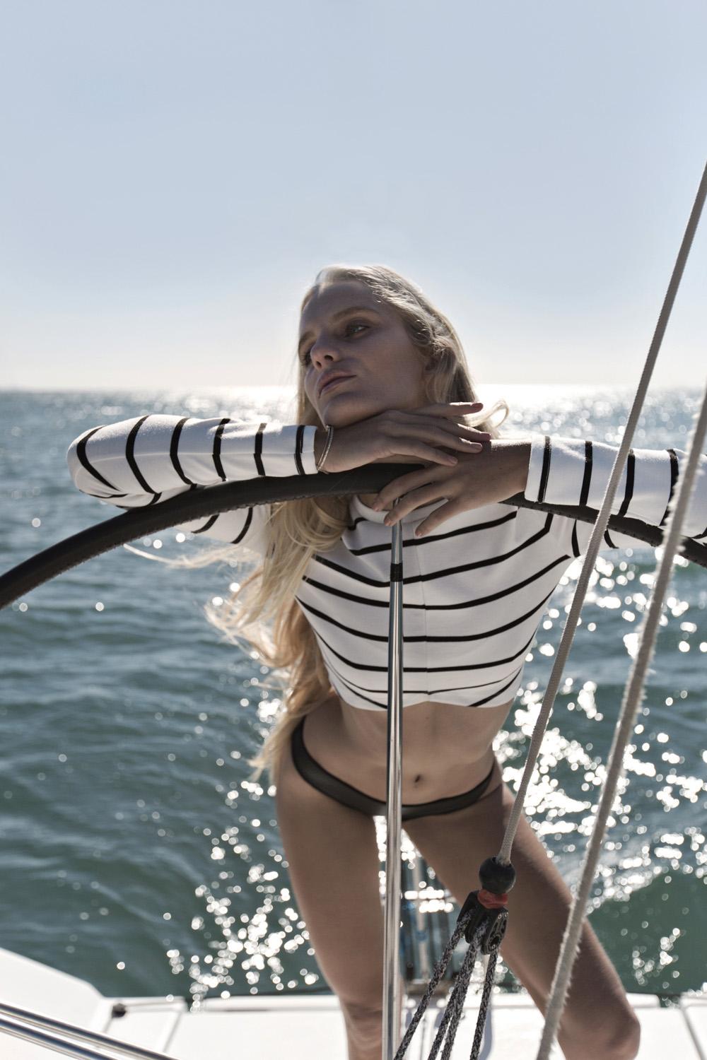 Hanalei Reponty, blonde model, yacht editorial, yacht, boat, denim, nautical, fashion, editorial, amanda shadforth, alterior motif
