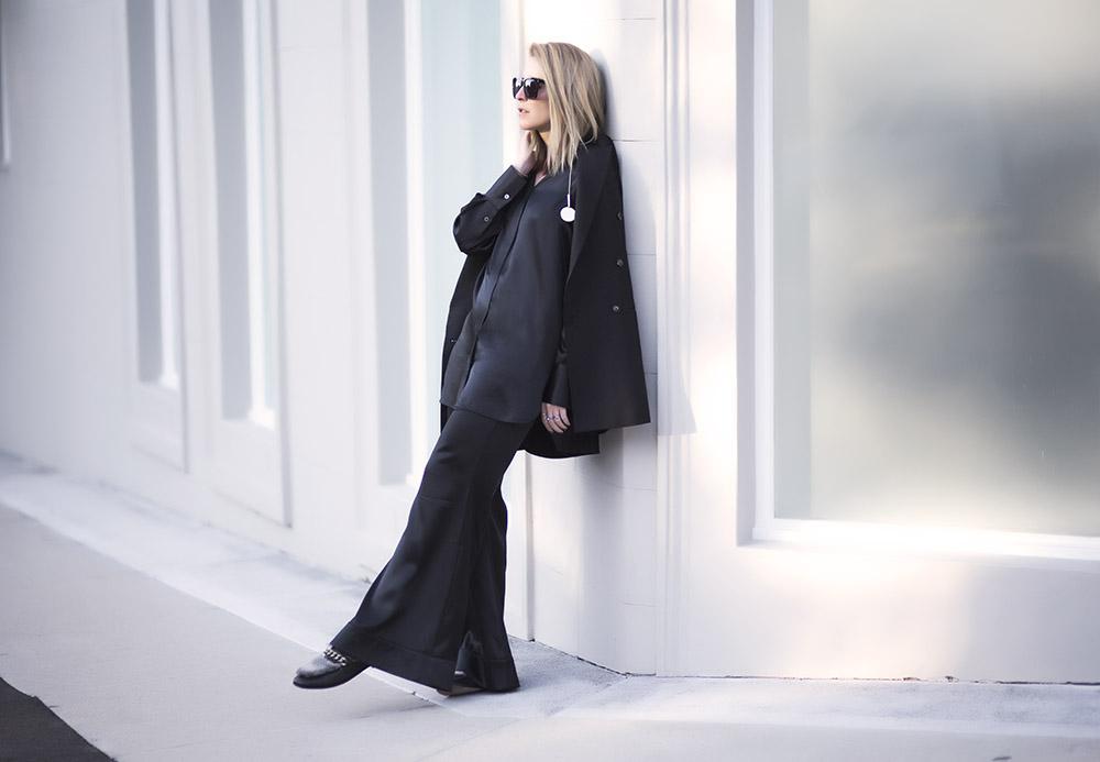 Ellery, silk pyjamas, black outfit, casual outfit, Ellery resort 2016, fur shoes, boyy, ellery jacket, ellery pants, ellery top