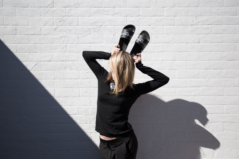 givenchy, givenchy shoes, givenchy slides, acne, trousers, shoes, slides, black outfit, amanda shadforth, oracle fox