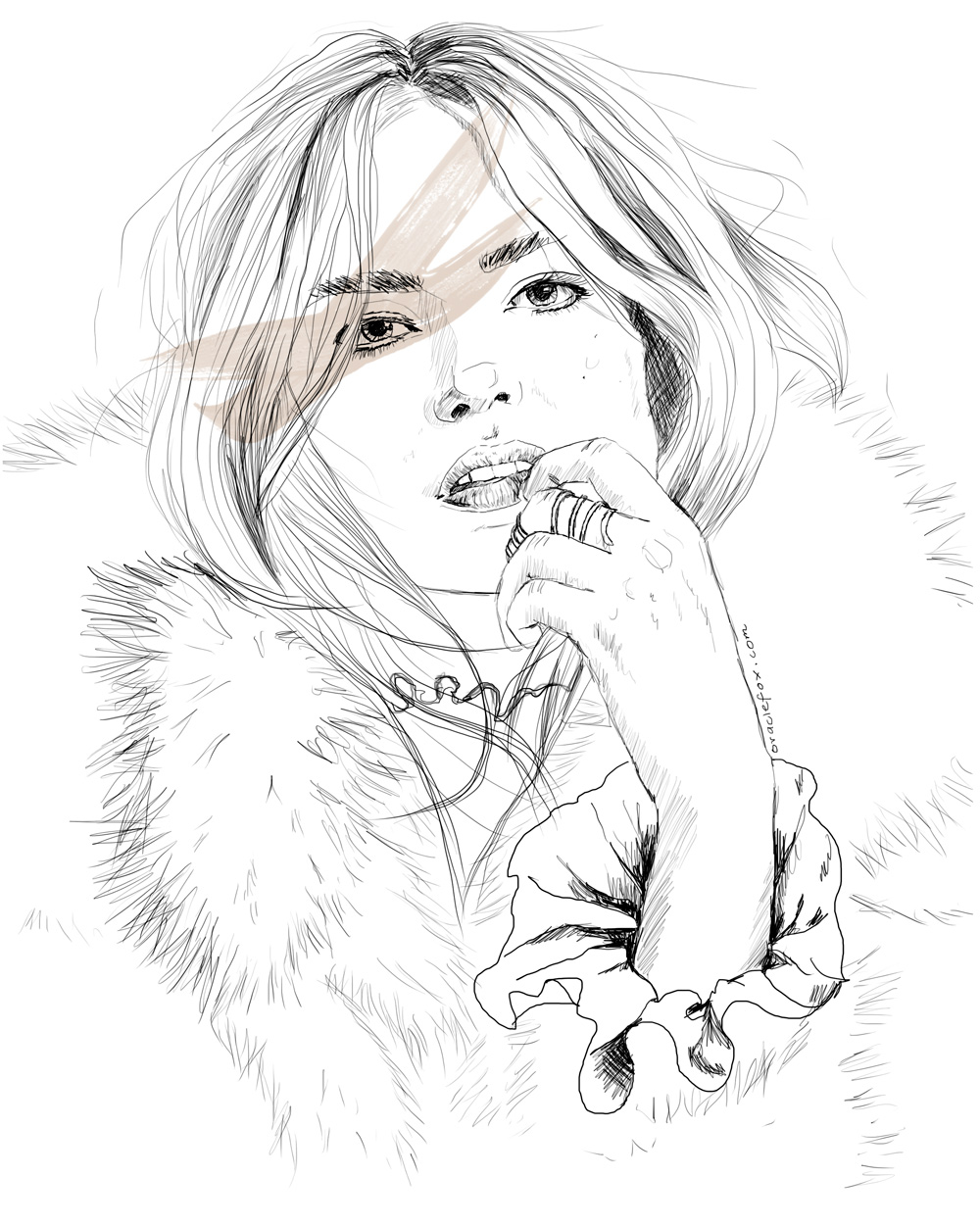 Natasha Poly, Illustration, drawing, amanda shadforth, oracle fox, glamour, russia, september 2015,
