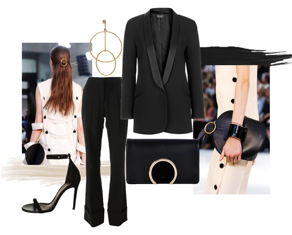 black outfit, stella mcCartney, chloe, topshop jacket, balenciaga shoes, earrings, oracle fox