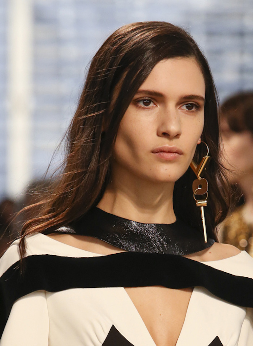 oracle fox, trend, post, gold,  statement, earring, runway, model, louis vuitton,