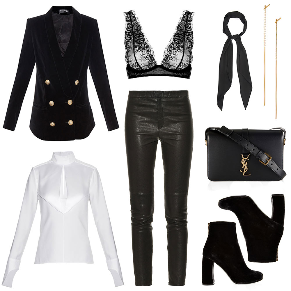 Oracle-Fox-Outfit-Collage-Lace-Bra-Leather-Pants-Saint-Laurent-Balmain-Monochrome-Outift-Shopping